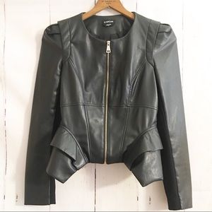 Bebe Faux Leather Moto Jacket Ruffle Peplum Zipper